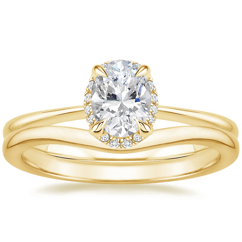 18K Yellow Gold Regalia Diamond Ring with Petite Curved Wedding Ring