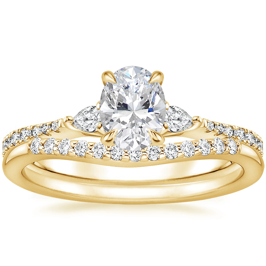 18K Yellow Gold Luxe Aria Diamond Ring with Petite Curved Diamond Ring (1/10 ct. tw.)