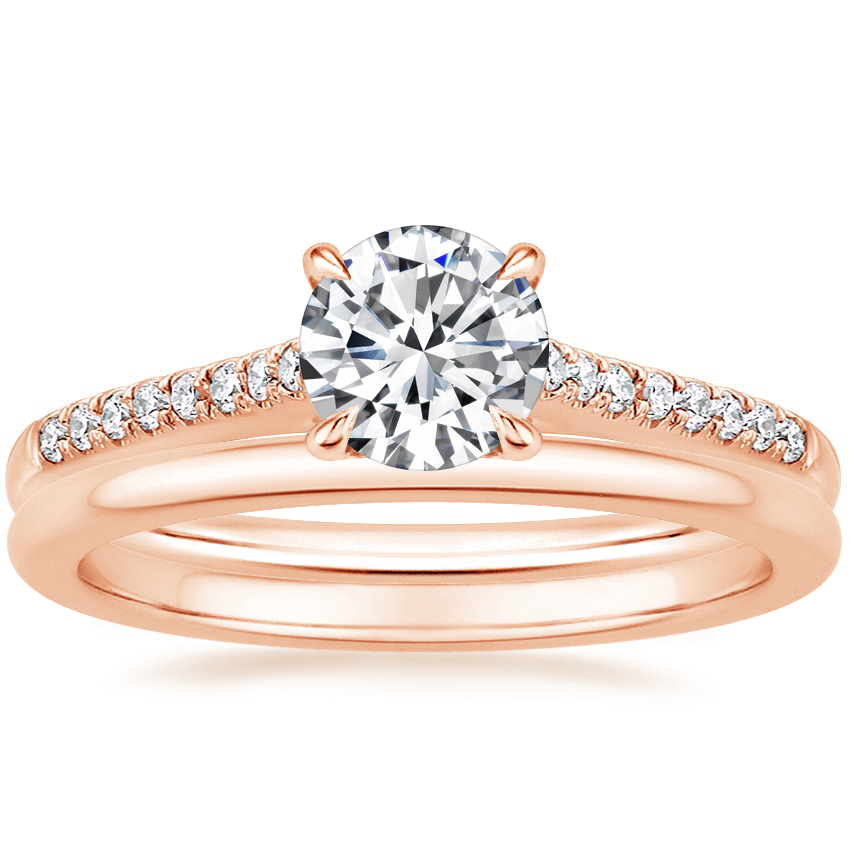 14K Rose Gold Lissome Diamond Ring (1/10 ct. tw.) with Petite Comfort Fit Wedding Ring