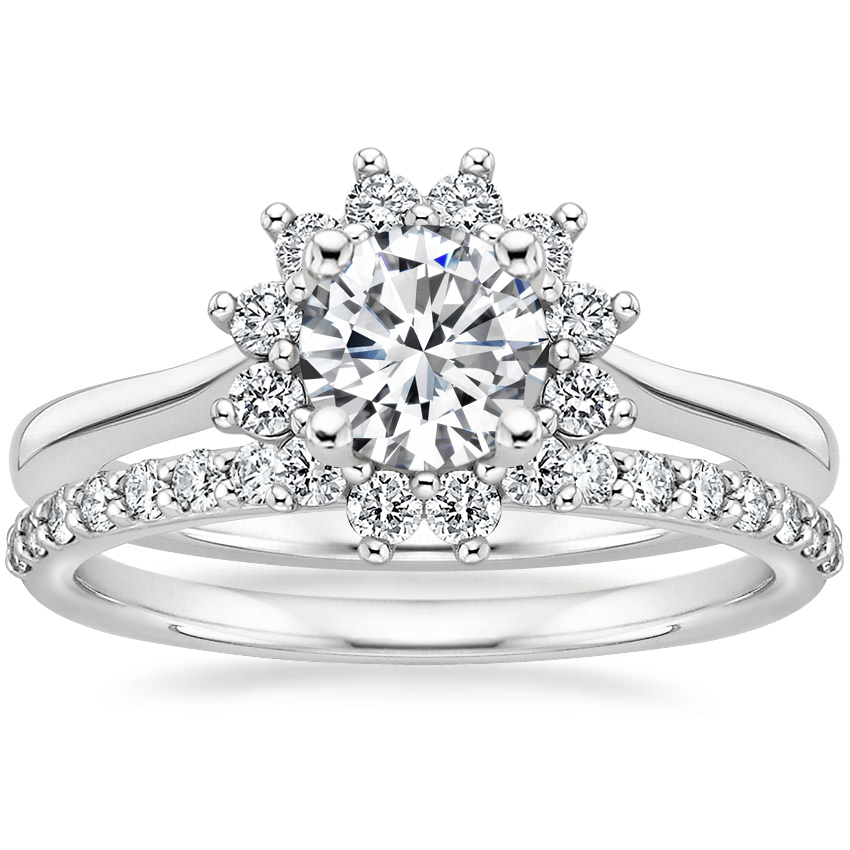18K White Gold Sunburst Diamond Ring (1/4 ct. tw.) with Petite Shared Prong Diamond Ring (1/4 ct. tw.)