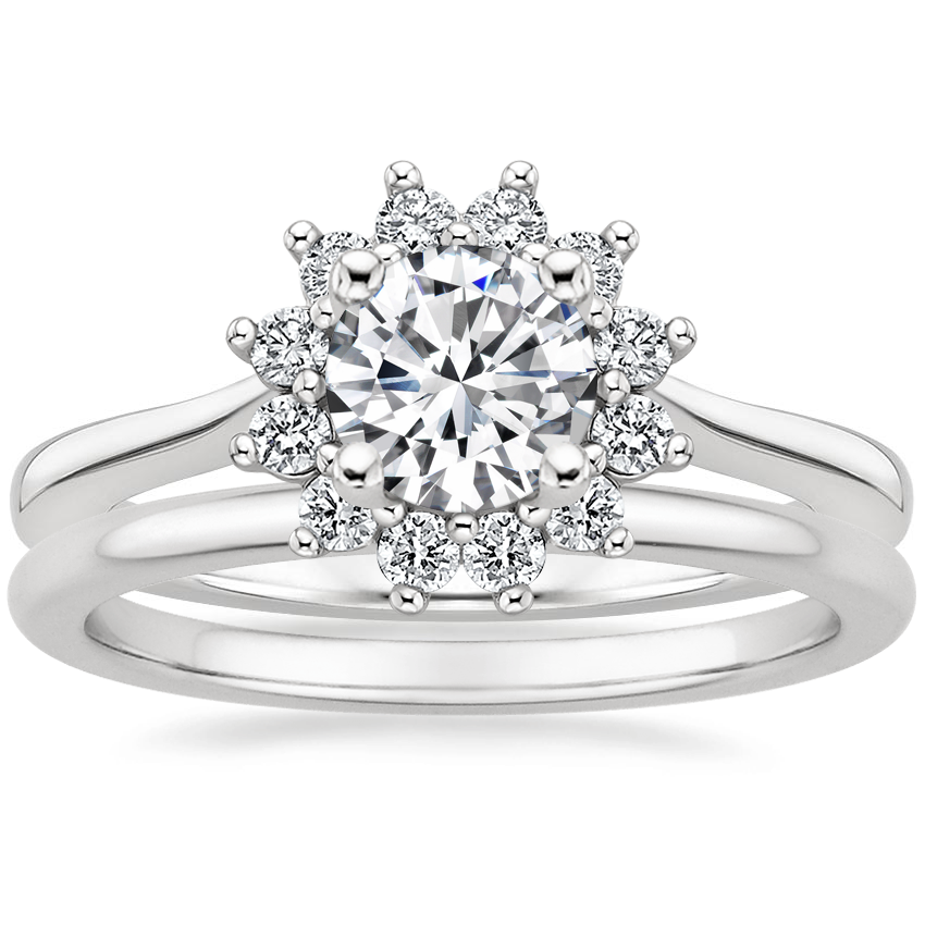 Platinum Sunburst Diamond Ring (1/4 ct. tw.) with Petite Comfort Fit Wedding Ring