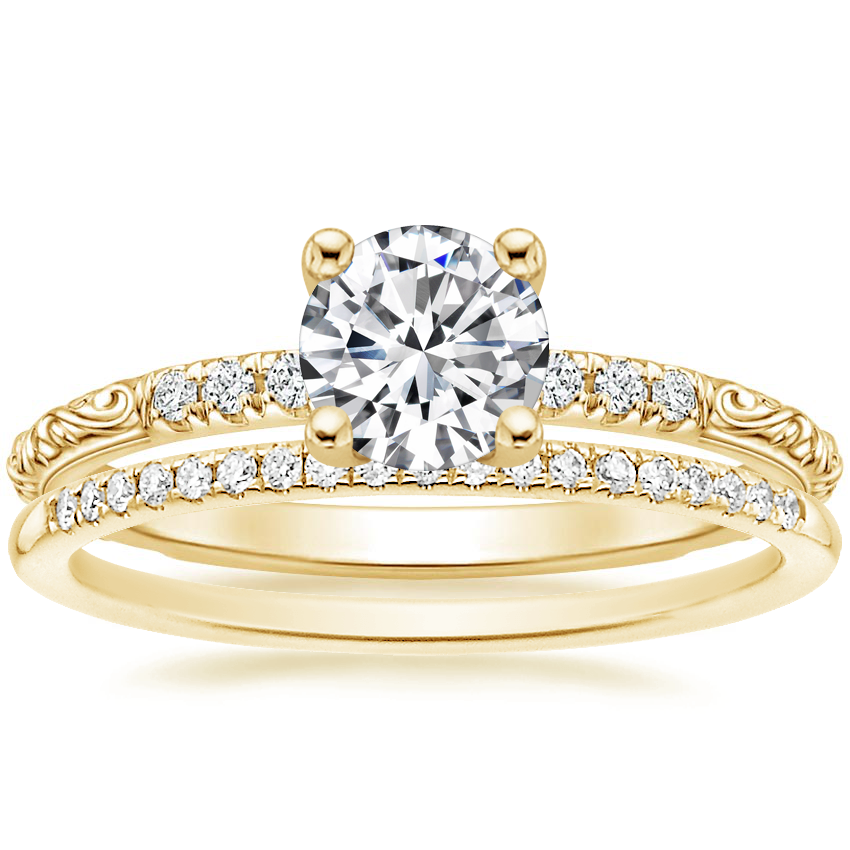 18K Yellow Gold Adeline Diamond Ring with Whisper Diamond Ring (1/10 ct. tw.)