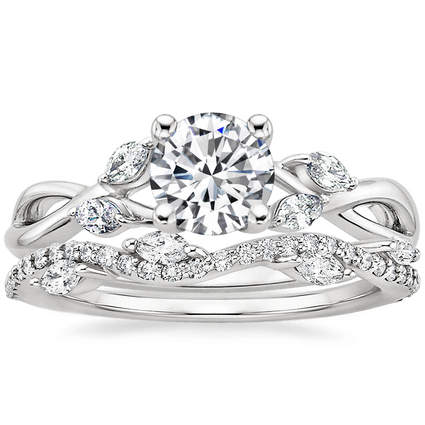 Platinum Willow Diamond Ring with Luxe Winding Willow Diamond Ring (1/4 ct. tw.)