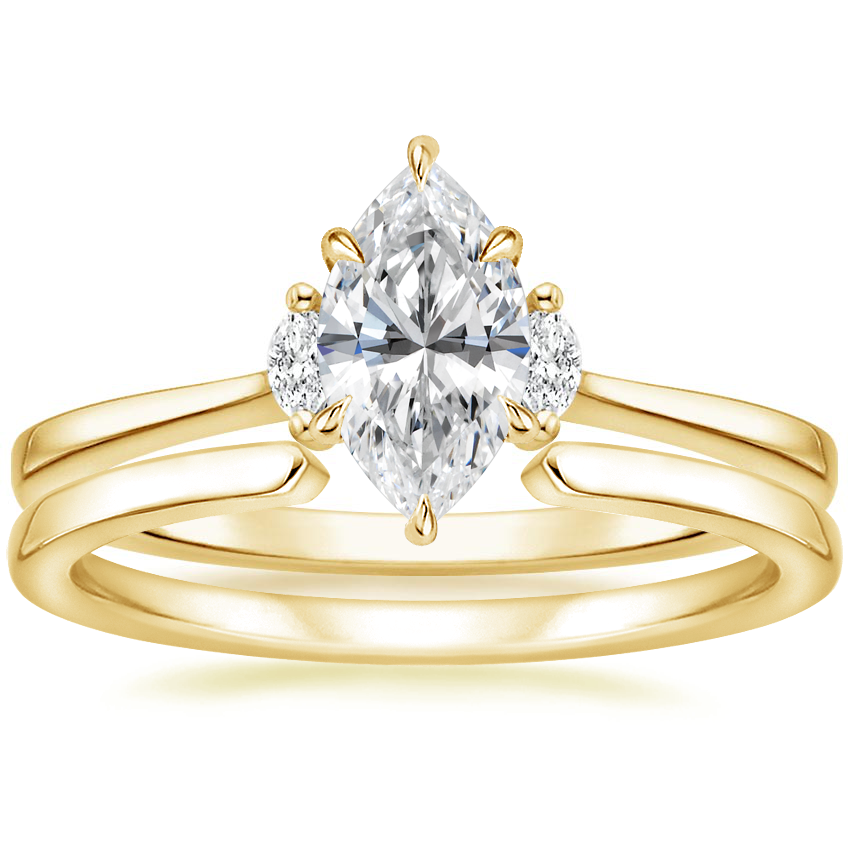18K Yellow Gold Jolie Diamond Ring with Liv Wedding Ring