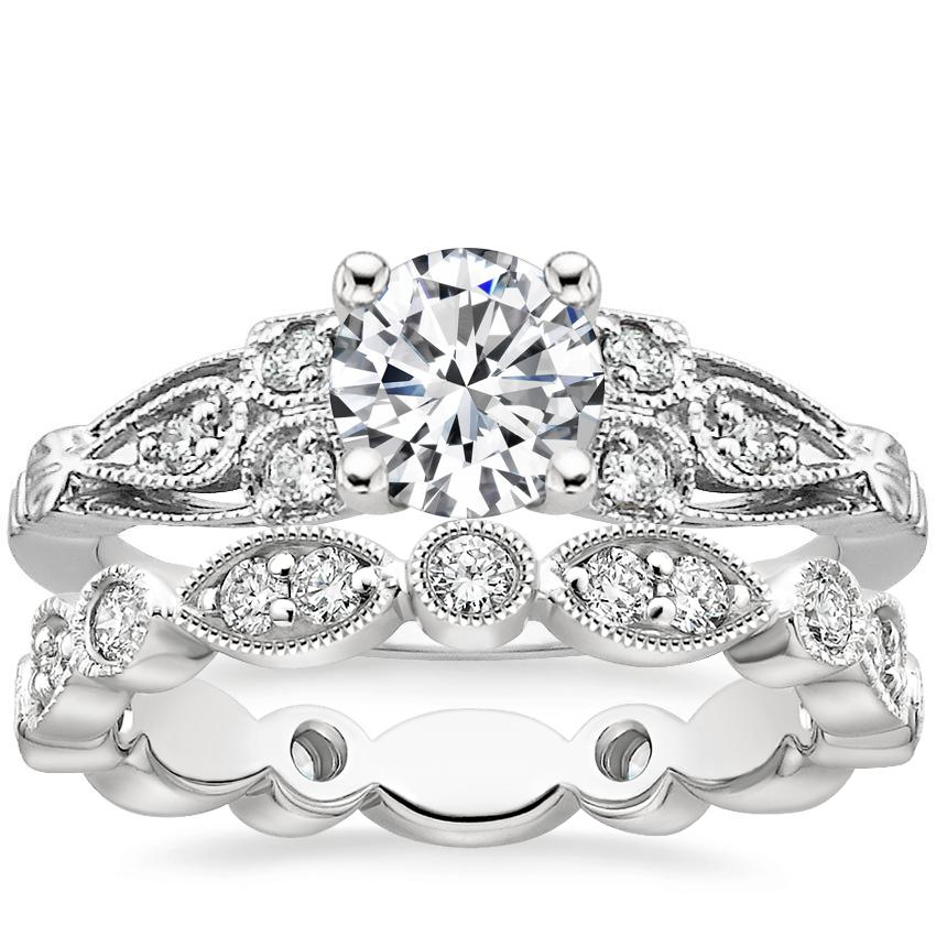 18K White Gold Rosabel Diamond Ring with Luxe Tiara Eternity Diamond Ring (1/2 ct. tw.)