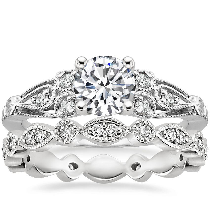 18K White Gold Rosabel Diamond Ring with Tiara Eternity Diamond Ring (1/4 ct. tw.)
