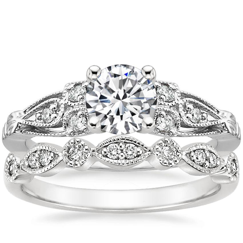 18K White Gold Rosabel Diamond Ring with Tiara Diamond Ring (1/10 ct. tw.)