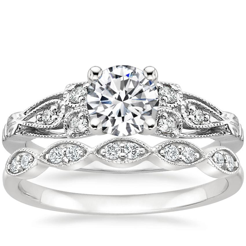 Platinum Rosabel Diamond Ring with Cadenza Diamond Ring (1/10 ct. tw.)