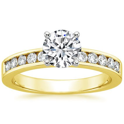 18K Yellow Gold Channel Set Round Diamond Ring (1/3 ct. tw.), top view