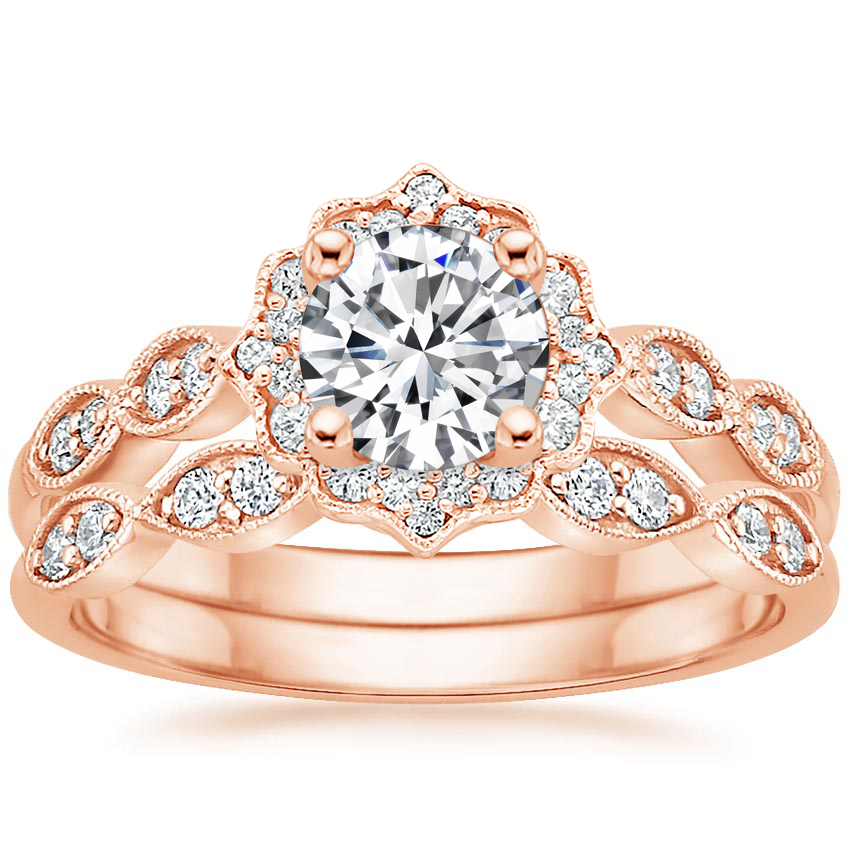 14K Rose Gold Cadenza Halo Diamond Bridal Set (1/4 ct. tw.)