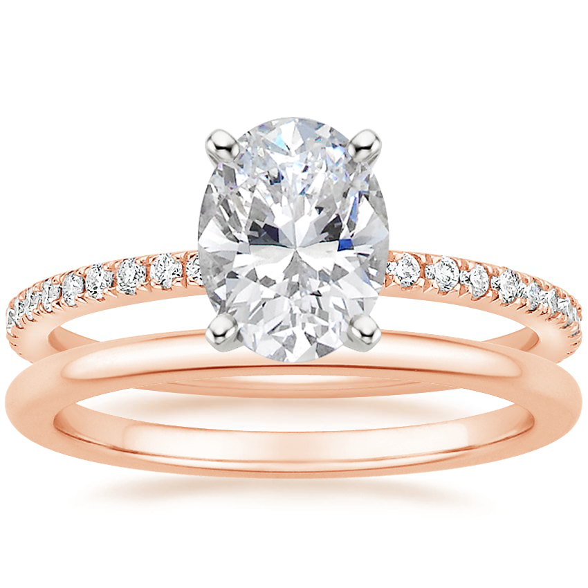 14K Rose Gold Luxe Ballad Diamond Ring (1/4 ct. tw.) with Petite Comfort Fit Wedding Ring