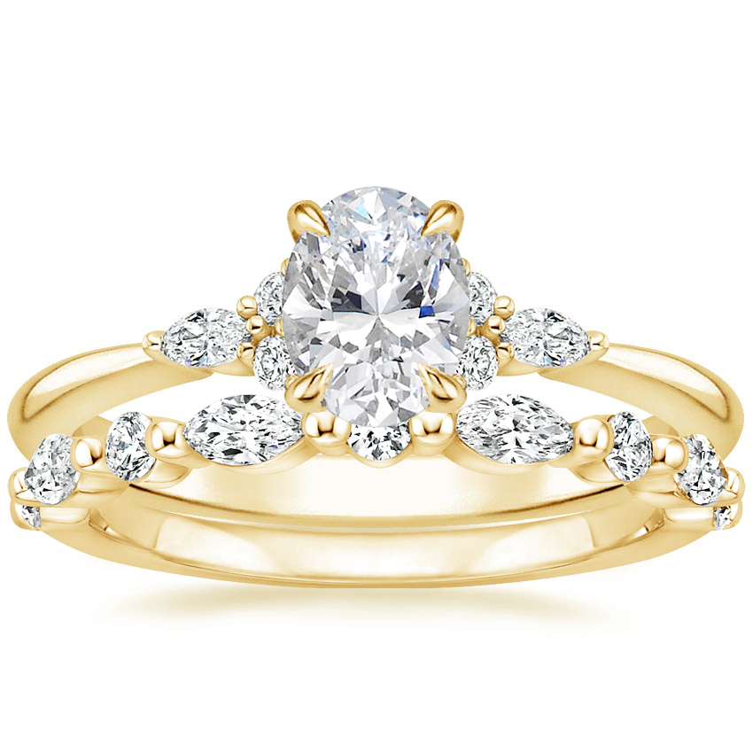 18K Yellow Gold Nadia Diamond Ring with Versailles Diamond Ring (3/8 ct. tw.)