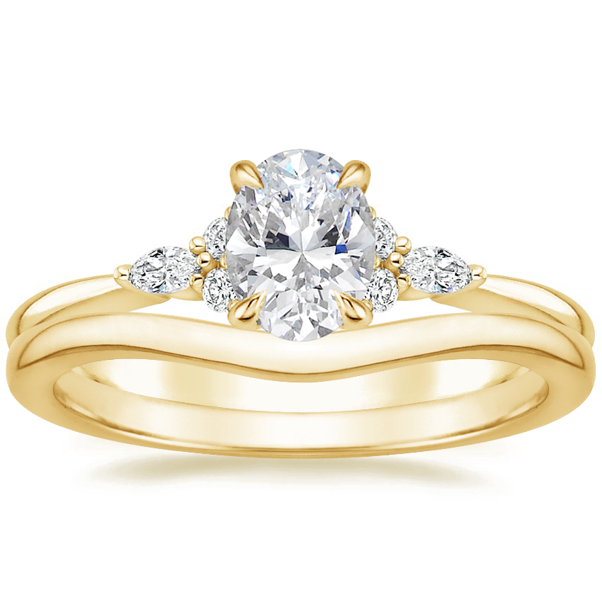 18K Yellow Gold Nadia Diamond Ring with Petite Curved Wedding Ring