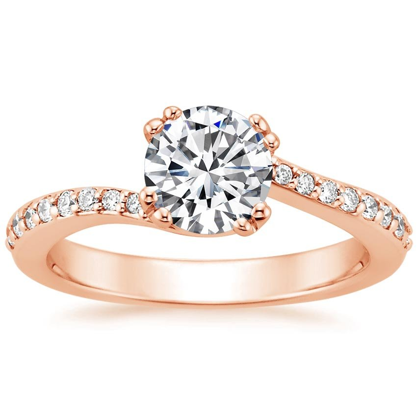 14K Rose Gold Seacrest Ring with Diamond Accents, top view