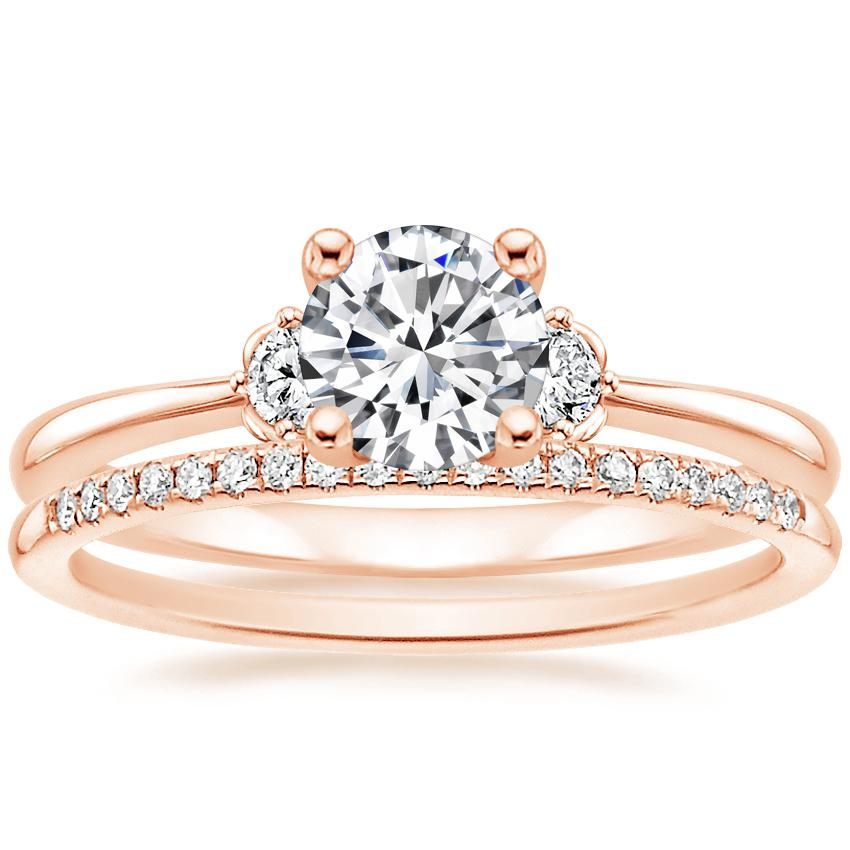 14K Rose Gold Blossom Diamond Ring with Whisper Diamond Ring (1/10 ct. tw.)