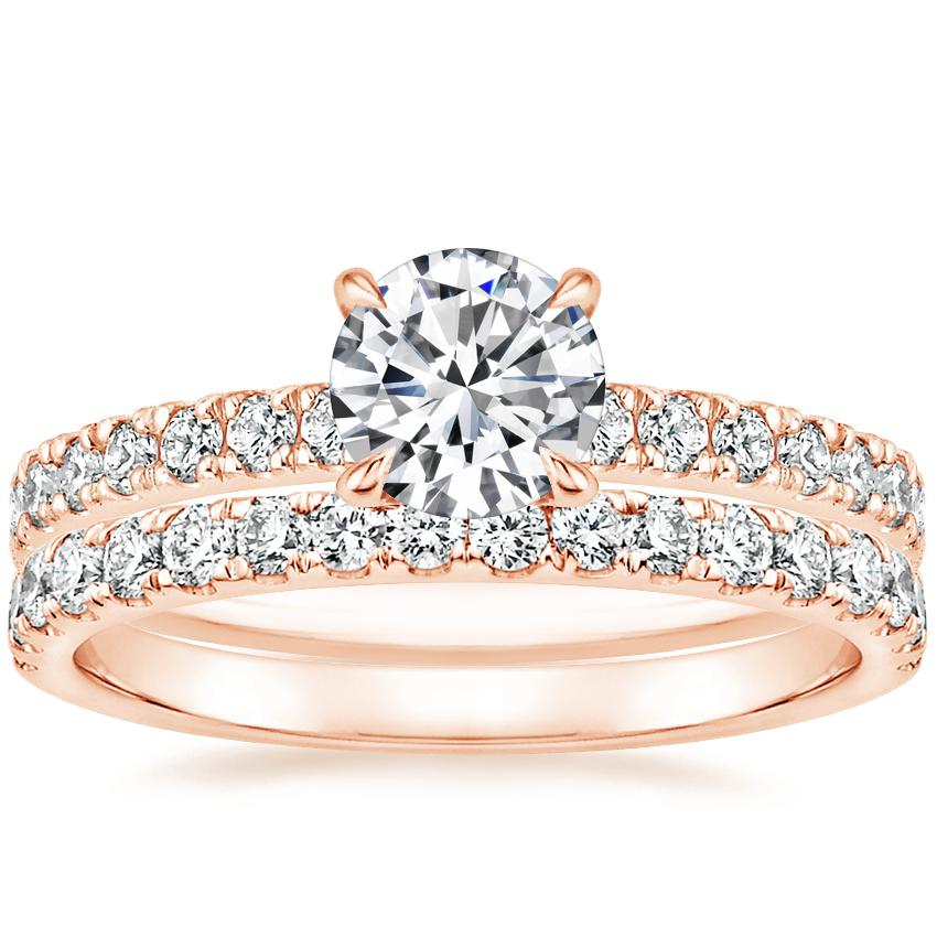 14K Rose Gold Clara Diamond Ring with Constance Diamond Ring (1/3 ct. tw.)