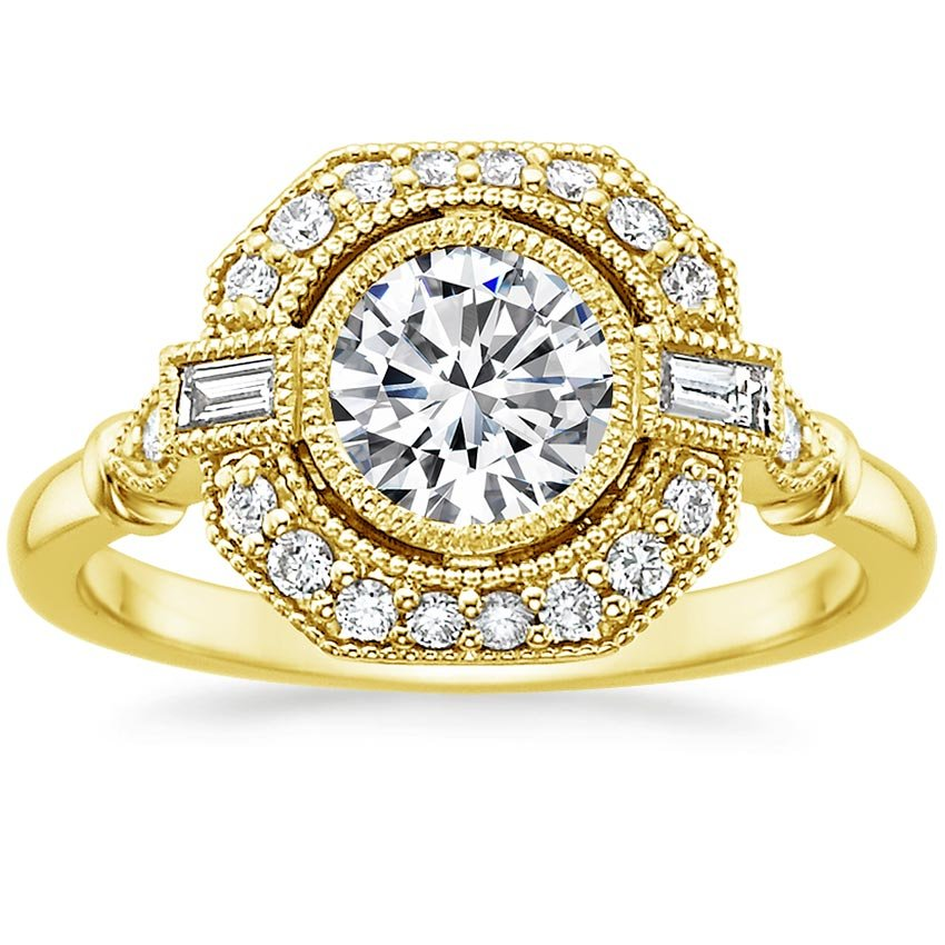 18K Yellow Gold Ostara Diamond Ring (1/4 ct. tw.), top view
