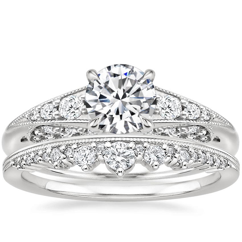 18K White Gold Serafina Diamond Ring (1/4 ct. tw.) with Crown Diamond Ring