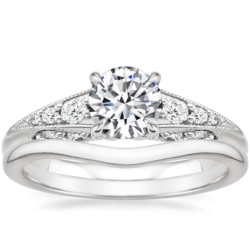 Platinum Serafina Diamond Ring (1/4 ct. tw.) with Petite Curved Wedding Ring