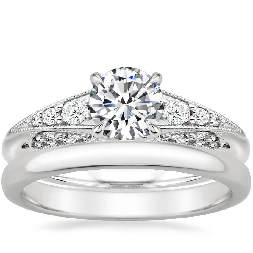18K White Gold Serafina Diamond Ring (1/4 ct. tw.) with 2.5mm Comfort Fit Wedding Ring