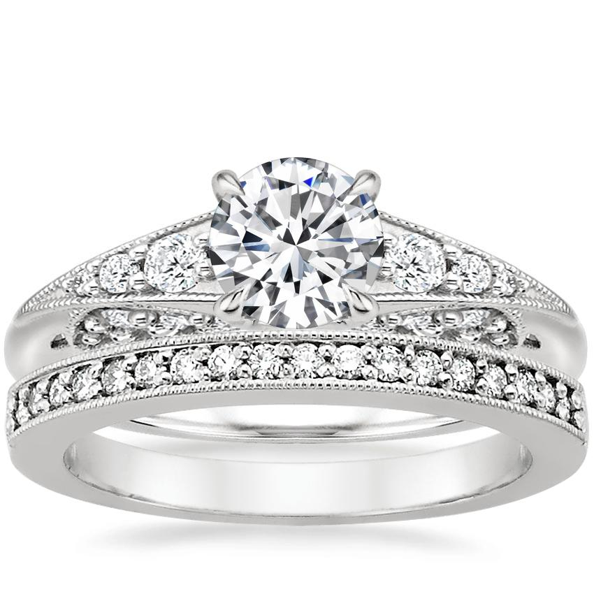18K White Gold Serafina Diamond Ring (1/4 ct. tw.) with Pavé Milgrain Diamond Ring (1/8 ct. tw.)