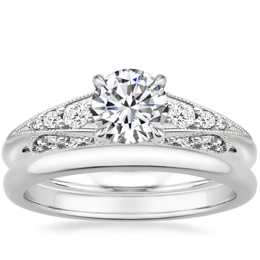 Platinum Serafina Diamond Ring (1/4 ct. tw.) with 2mm Comfort Fit Wedding Ring