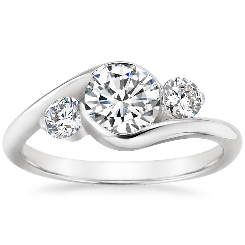 18K White Gold Cascade Three Stone Ring (1/3 ct. tw.), top view