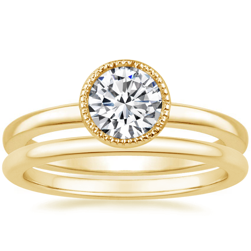 18K Yellow Gold Sierra Ring with Petite Comfort Fit Wedding Ring