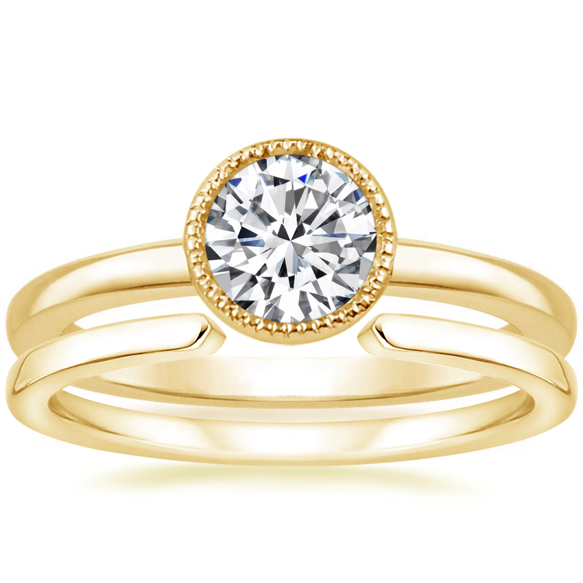 18K Yellow Gold Sierra Ring with Liv Wedding Ring