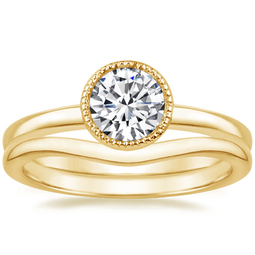 18K Yellow Gold Sierra Ring with Petite Curved Wedding Ring