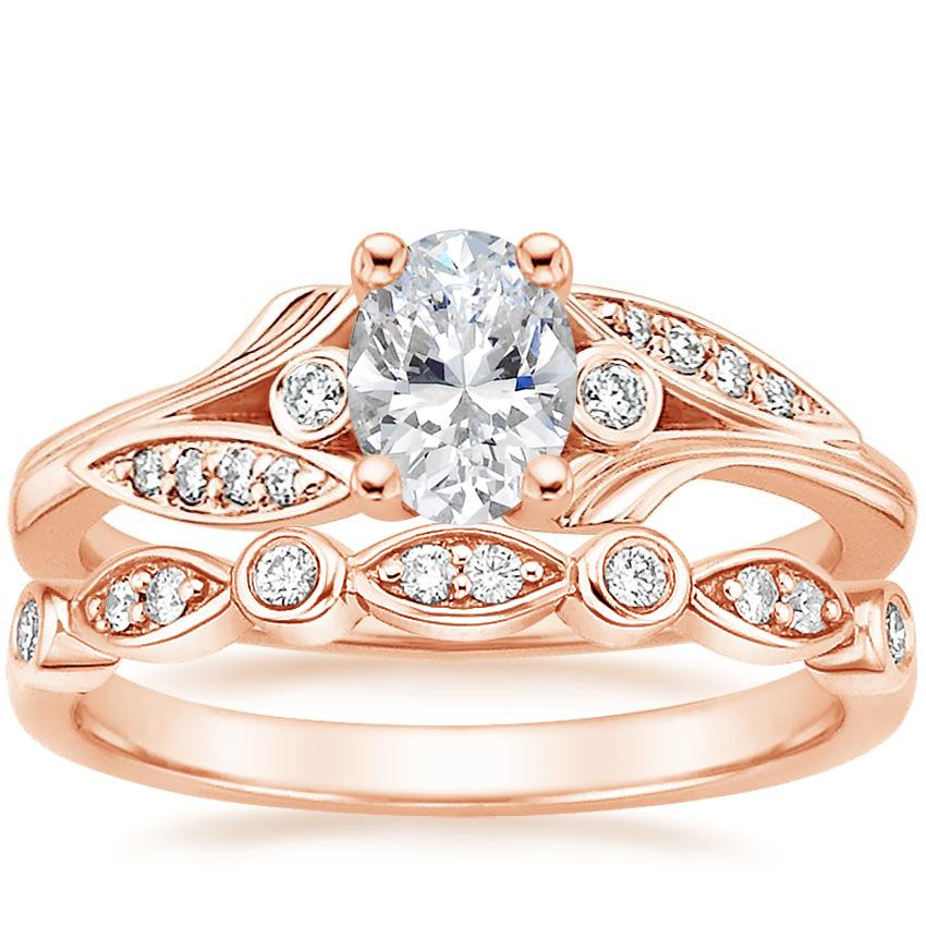 14K Rose Gold Jasmine Diamond Ring with Coronet Diamond Ring