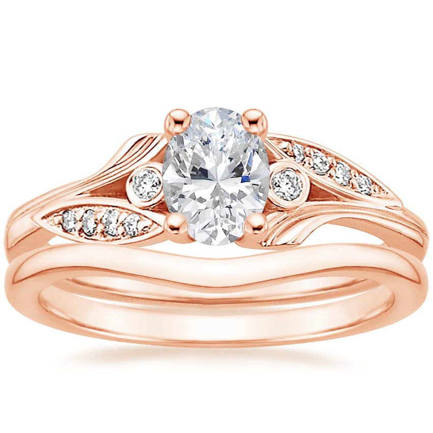 14K Rose Gold Jasmine Diamond Ring with Petite Curved Wedding Ring
