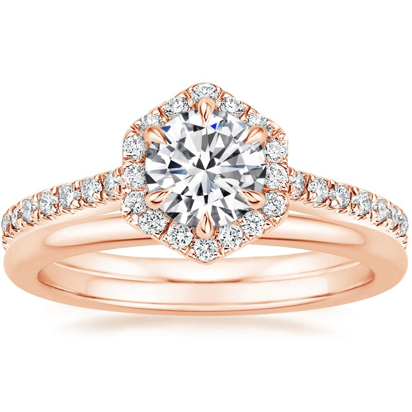 14K Rose Gold Sonnet Diamond Ring (1/3 ct. tw.) with Petite Comfort Fit Wedding Ring