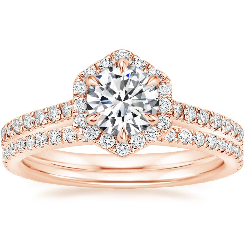 14K Rose Gold Sonnet Diamond Ring (1/3 ct. tw.) with Luxe Ballad Diamond Ring (1/4 ct. tw.)