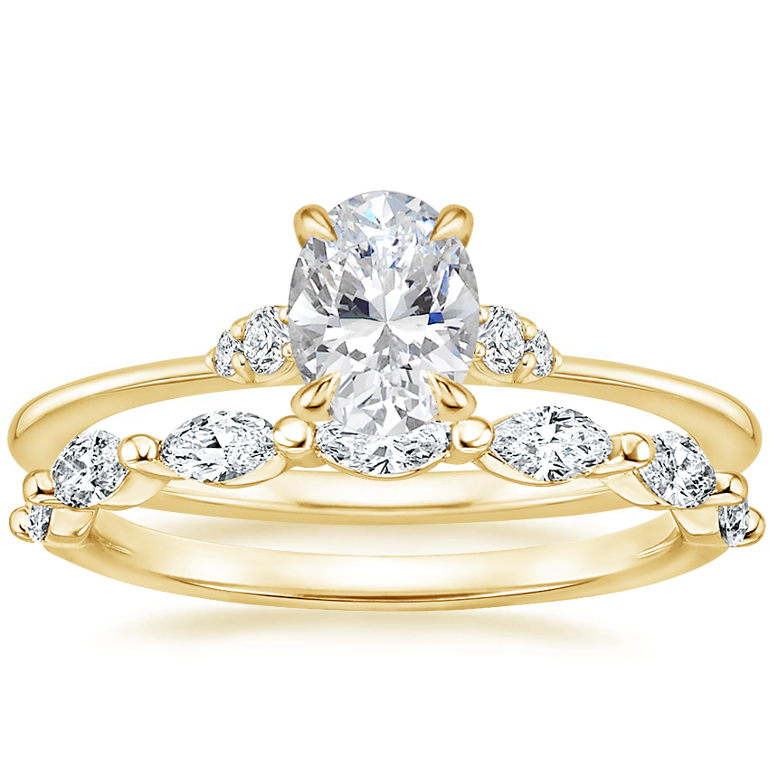 18K Yellow Gold Colette Diamond Ring with Joelle Diamond Ring