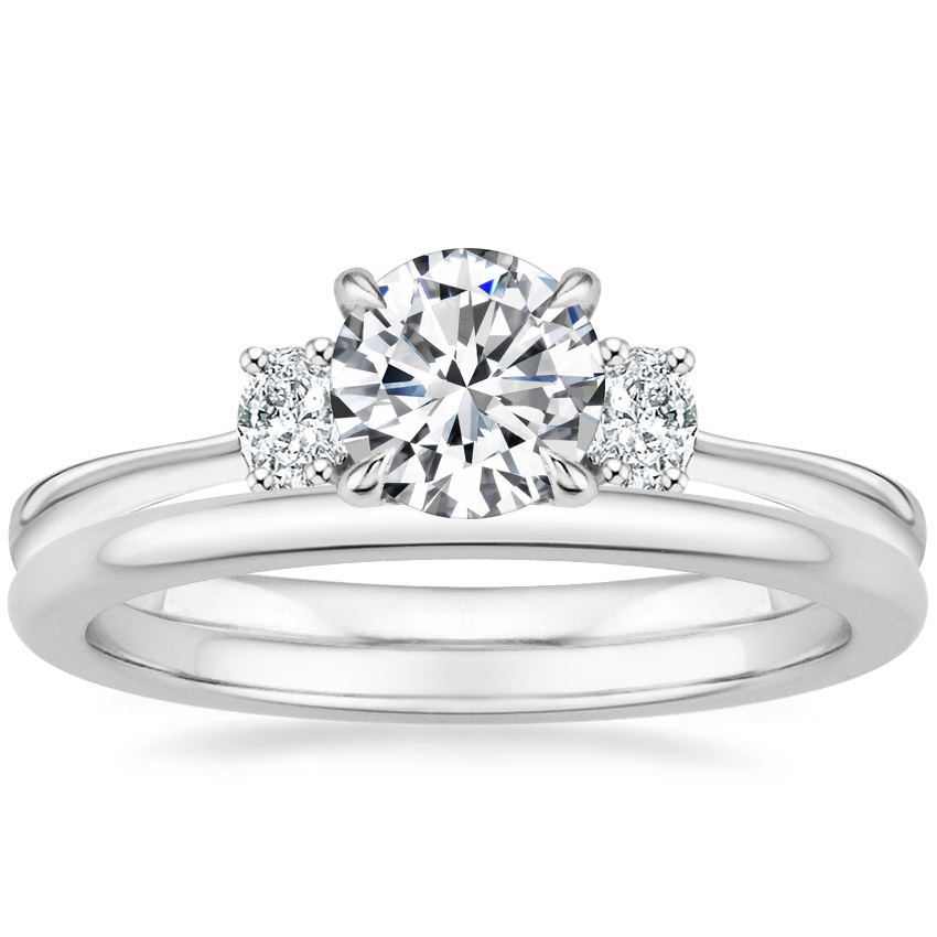 Platinum Sonata Diamond Ring with Petite Comfort Fit Wedding Ring