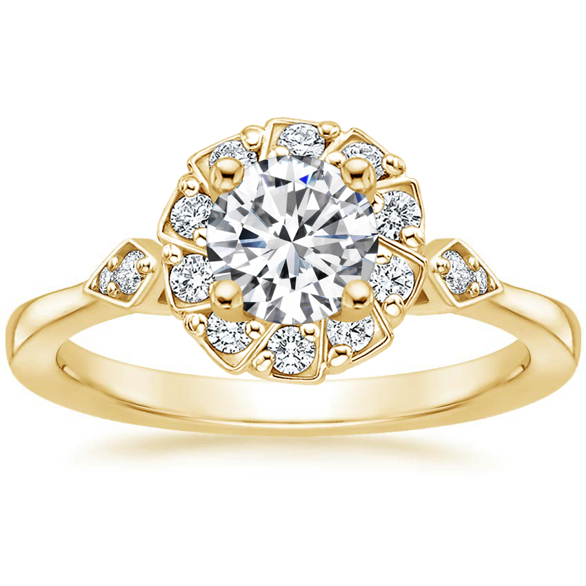 Round 18K Yellow Gold Geo Halo Diamond Ring