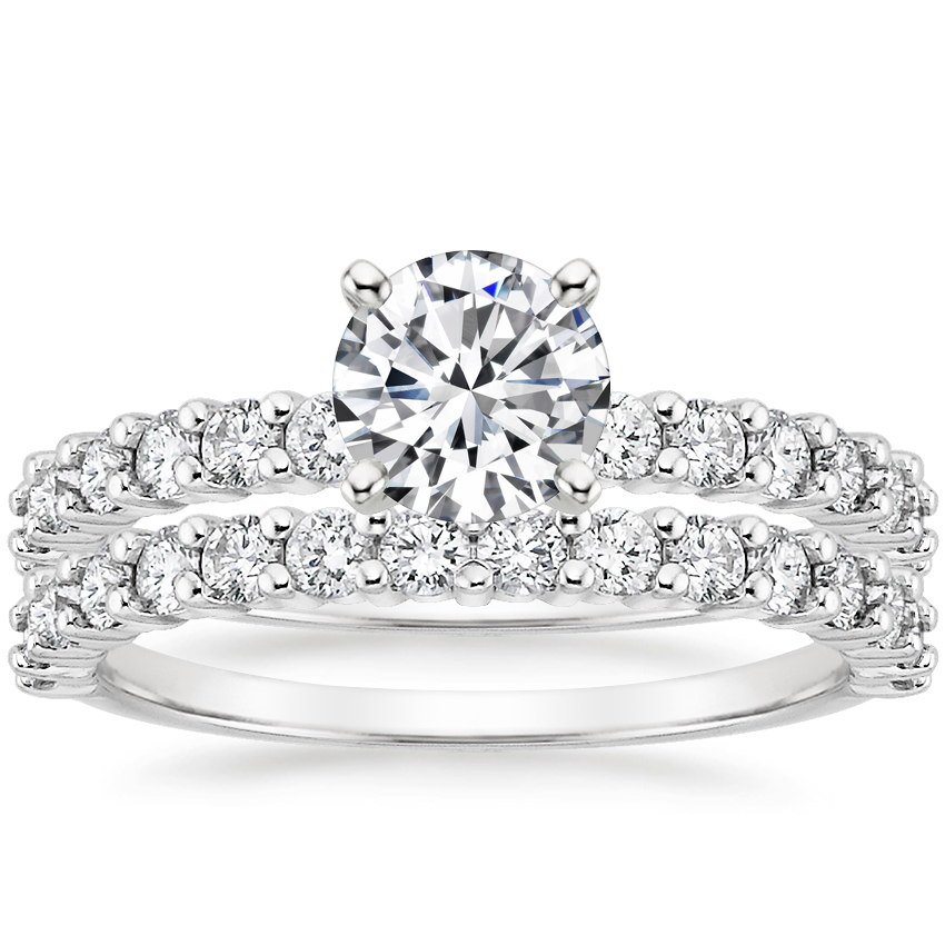 18K White Gold Shared Prong Diamond Bridal Set (7/8 ct. tw.)