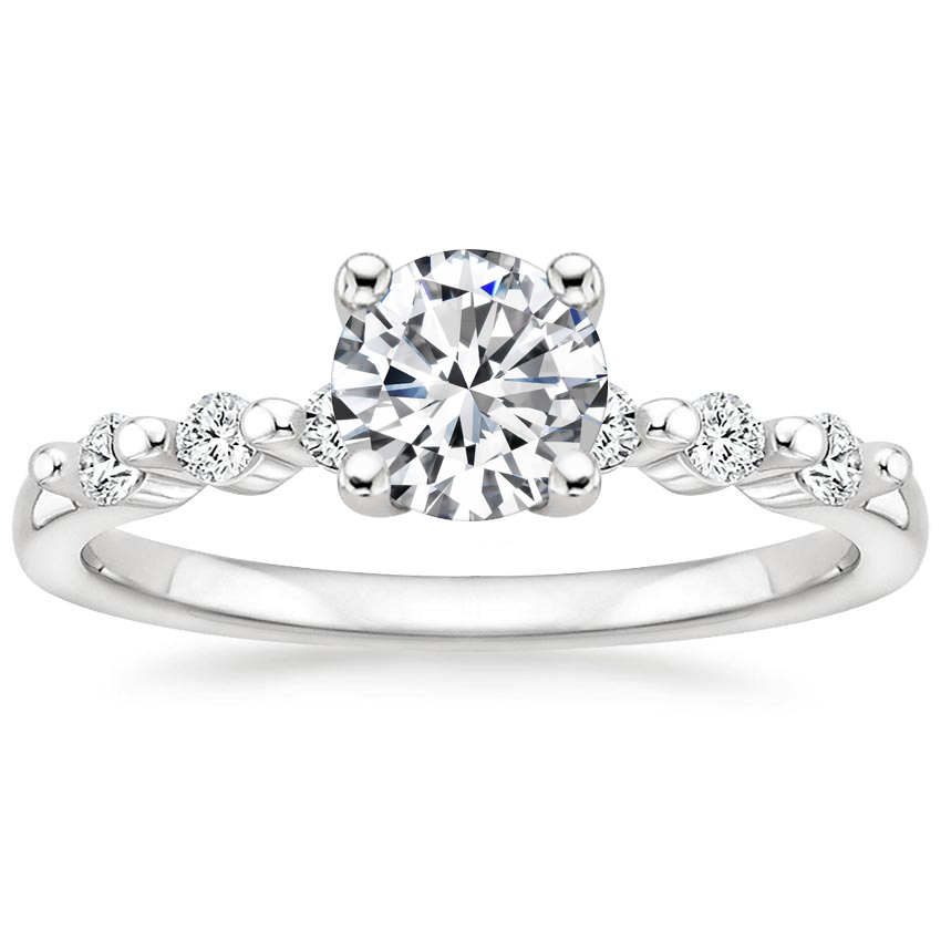 Round Platinum Petite Marseille Diamond Ring (1/6 ct. tw.)