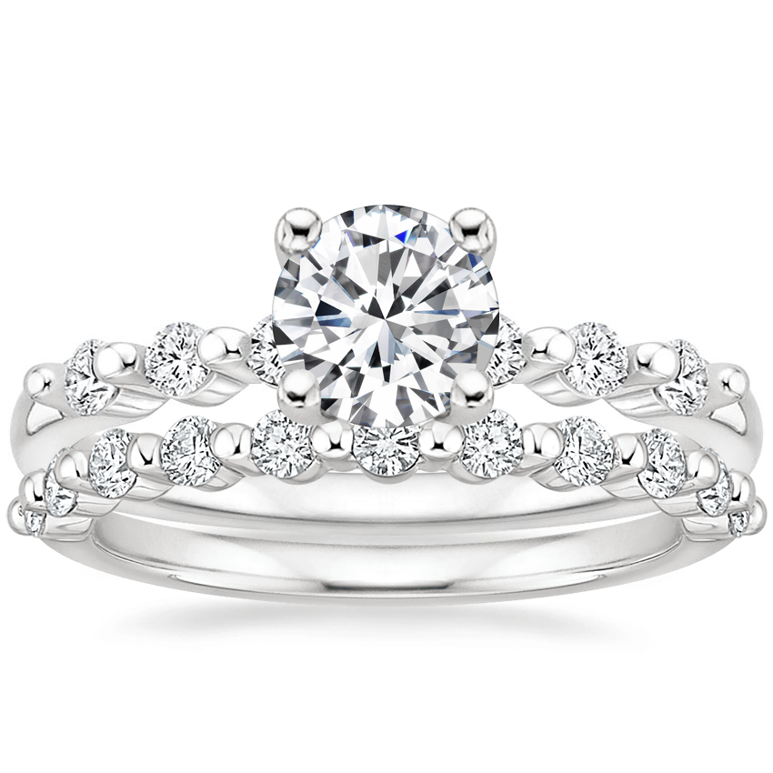 18K White Gold Petite Marseille Diamond Ring (1/6 ct. tw.) with Marseille Diamond Ring (1/3 ct. tw.)