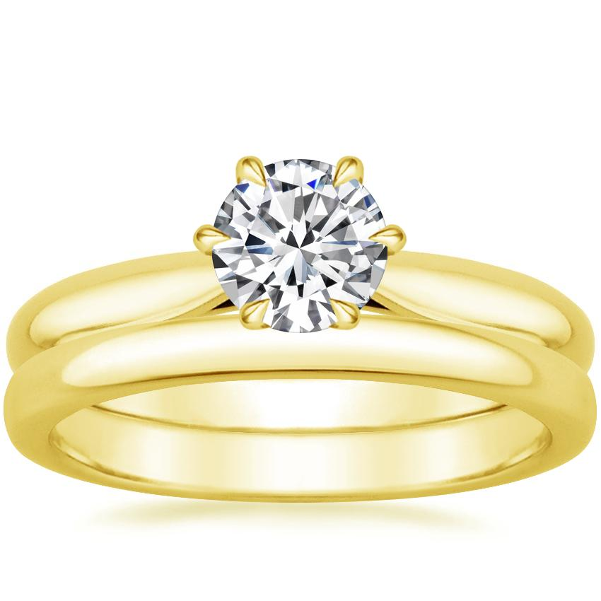 18K Yellow Gold Catalina Ring with 2.5mm Comfort Fit Wedding Ring