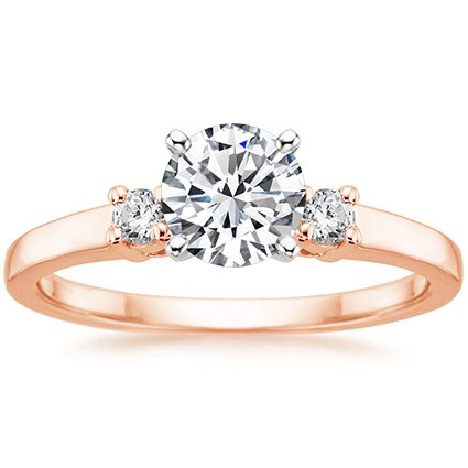 14K Rose Gold Sweetheart Diamond Ring, top view