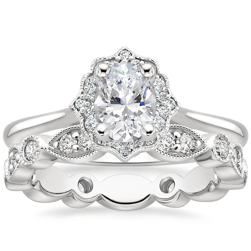 18K White Gold Coralie Diamond Ring with Luxe Tiara Eternity Diamond Ring (1/2 ct. tw.)