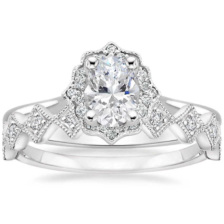 18K White Gold Coralie Diamond Ring with Delfina Diamond Ring