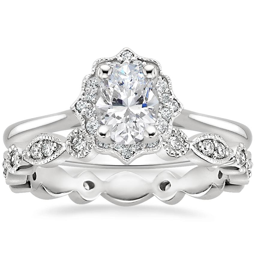 Platinum Coralie Diamond Ring with Tiara Eternity Diamond Ring (1/4 ct. tw.)