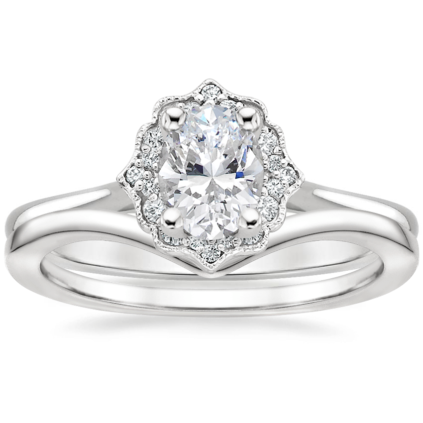 Platinum Coralie Diamond Ring with Chevron Ring