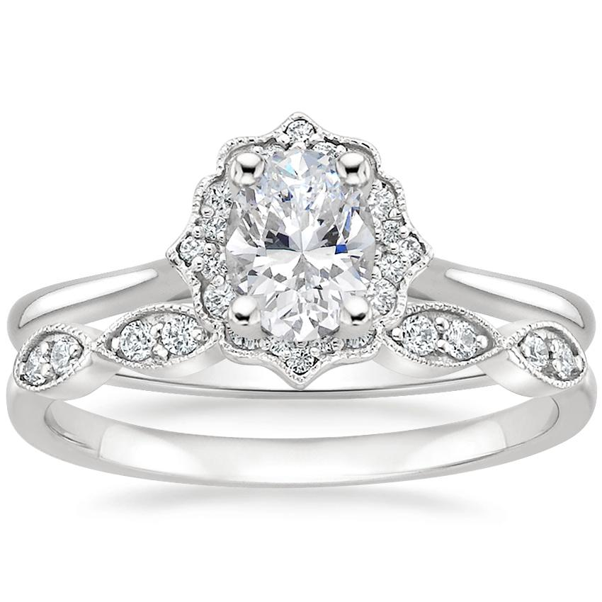 18K White Gold Coralie Diamond Ring with Cadenza Diamond Ring (1/10 ct. tw.)