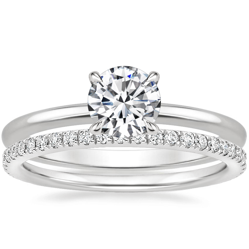 18K White Gold Secret Halo Diamond Ring with Luxe Ballad Diamond Ring (1/4 ct. tw.)