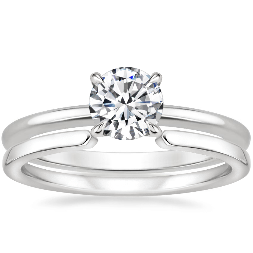18K White Gold Secret Halo Diamond Ring with Liv Wedding Ring
