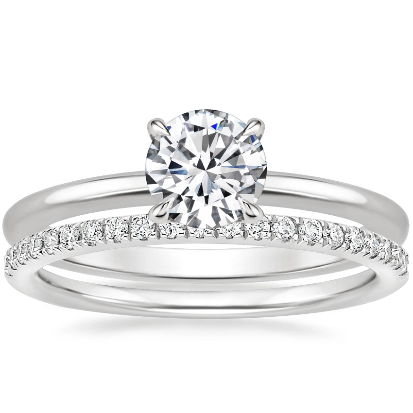 18K White Gold Secret Halo Diamond Ring with Ballad Diamond Ring (1/6 ct. tw.)